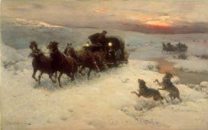 """Obraz """"Ekscytująca podróż"""" A. Kowalskiego ma szansę trafić na wystawę """"Egzotyczna Europa""""."""