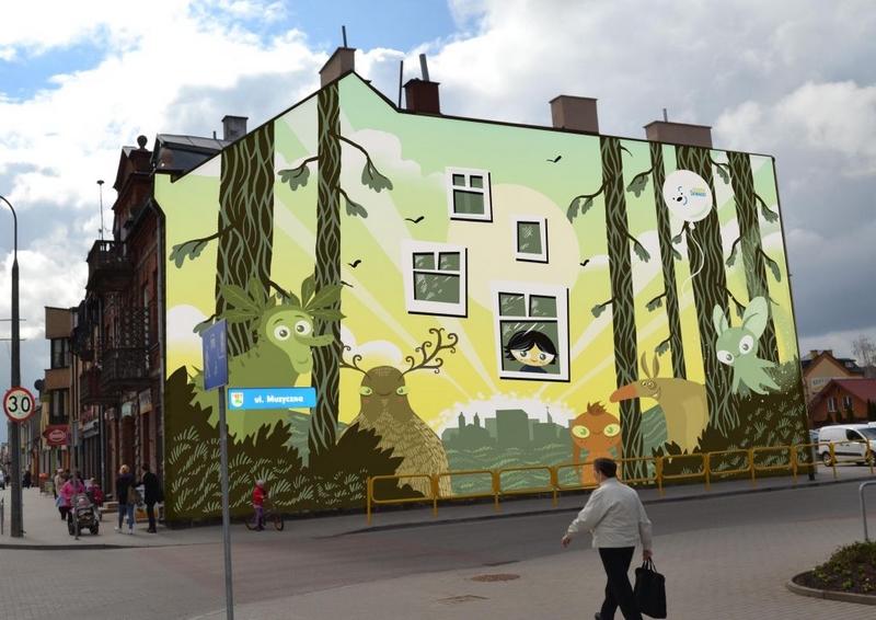 Konkursowy projekt muralu Karola Kalinowskiego na jednej z suwalskich kamienic (projekt zrealizowany).
